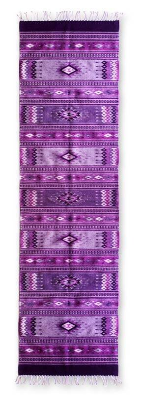 Zapotec wool rug, 'Violet Suns and Mountains' (2.5x10) - Zapotec wool rug (2.5x10)