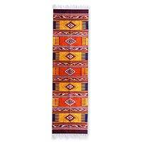 Zapotec wool rug, 'Phases of the Sky' (2.5x10) - Hand Woven Zapotec Wool Area Rug Runner 2.5x10 Arts