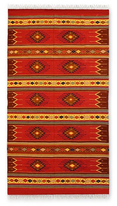 Zapotec wool rug, 'Phases of the Sky' (6.5x10) - Zapotec wool rug (6.5x10)