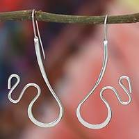 Sterling silver drop earrings, 'Huasteca Paths' - Sterling silver drop earrings
