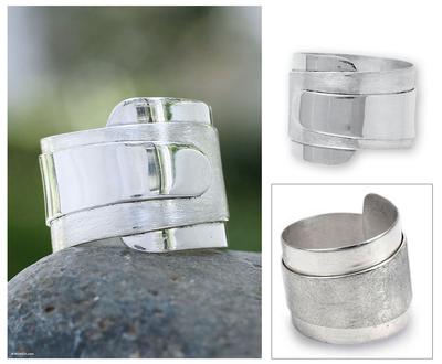 Sterling silver band ring, 'Modern Maya' - Artisan Crafted Modern Sterling Silver Band Ring
