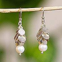 Cultured pearl waterfall earrings, 'Popocateptl Moon' - Unique Mexican Sterling Silver and Pearl Cluster Earrings