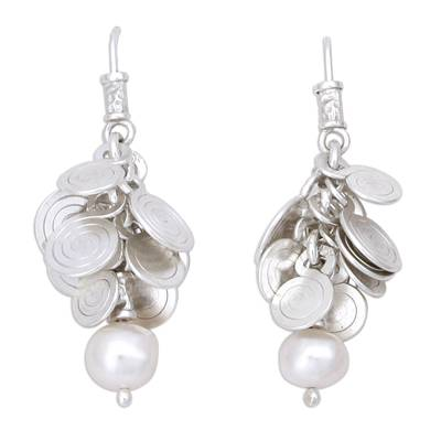 Sterling Silver and Pearl Waterfall Earrings from Mexico