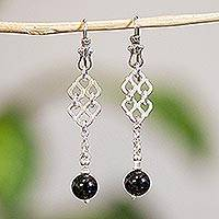 Onyx dangle earrings, 'Zapotec Lace' - Handmade Taxco Silver Dangle Earrings with Onyx