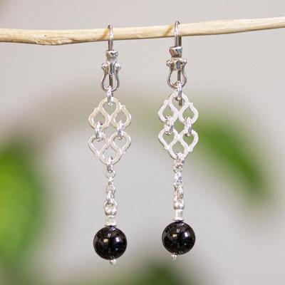 Onyx dangle earrings, 'Zapotec Lace' - Handmade Taxco Silver Dangle Earrings with Onyx