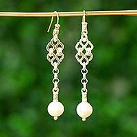 Cultured pearl dangle earrings, 'Zapotec Lace' - Cultured pearl dangle earrings
