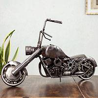 Auto part sculpture, 'Rustic Vintage Motorcycle' - Auto Part Sculpture Recycled Metal Mexico Eco Art