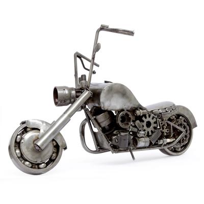 Auto part sculpture, 'Rustic Vintage Motorcycle' - Auto Part Sculpture Recycled Metal Mexico Eco Art