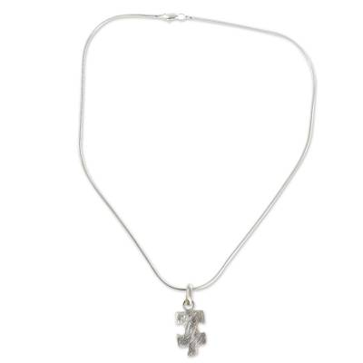 Silver pendant necklace, 'Puzzle' - Hand Made Modern Fine Silver Pendant Necklace from Mexico