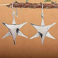 Silver dangle earrings, 'Stars Over Taxco'