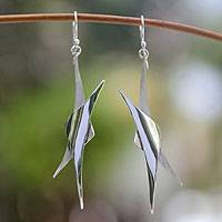 Silver dangle earrings, 'Sierra Stars' - Star Fine Silver Dangle Earrings
