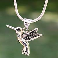 Sterling silver pendant necklace, 'Hummingbird Secrets' - Hand Made Fine Silver Bird Necklace from Mexico