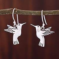 Sterling silver dangle earrings, 'Hummingbird Secrets' - Fair Trade Fine Silver Bird Earrings from Mexico