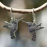Silver dangle earrings, 'Aztec Hummingbird' - Hand Made Fine Silver Dangle Bird Earrings