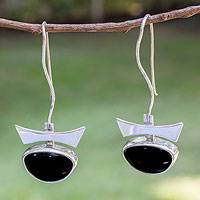 Obsidian drop earrings, 'Majestic' - Obsidian drop earrings