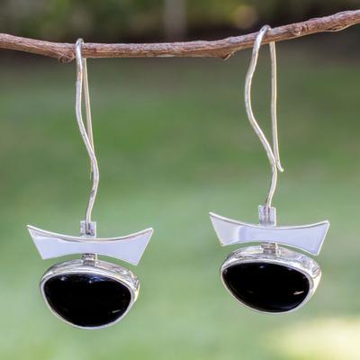 Obsidian drop earrings, 'Majestic' - Obsidian drop earrings