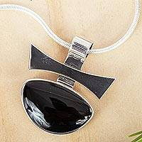 Obsidian pendant necklace, 'Majestic' - Modern Abstract Obsidian Necklace
