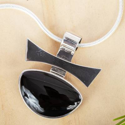 Obsidian pendant necklace, 'Majestic' - Unique Modern Fine Silver Obsidian Necklace