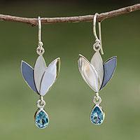 Blue topaz flower earrings,
