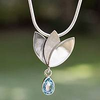 Blue topaz flower necklace, 'Mixteca Tulip' - Artisan Crafted Floral Fine Silver Blue Topaz Necklace