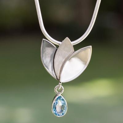 Blue topaz flower necklace, 'Mixtec Tulip' - Artisan Crafted Floral Fine Silver Blue Topaz Necklace
