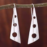 Silver drop earrings, 'Taxco Modern'