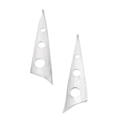 Silver drop earrings, 'Taxco Modern' - Mexican Taxco Silver Contemporary Drop Earrings