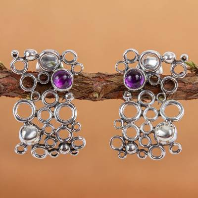 Amethyst button earrings, 'Mischief' - Mexican Modern Fine Silver Amethyst Earrings