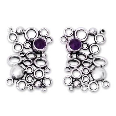 Amethyst button earrings, 'Mischief' - Mexican Modern Fine Silver Amethyst Earrings