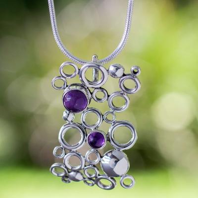 Amethyst pendant necklace, 'Mischief' - Unique Modern Fine Silver Pendant Necklace with Amethyst