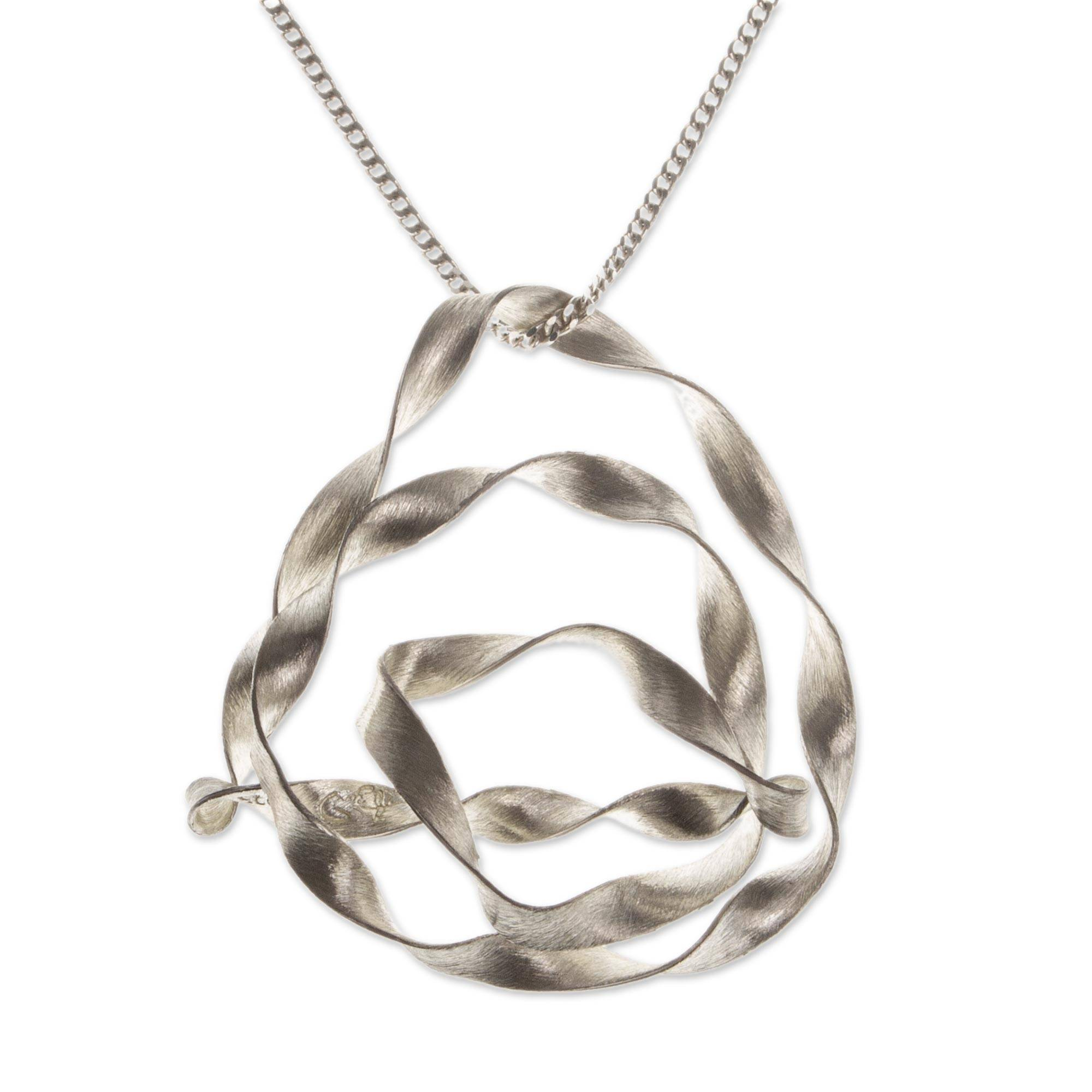 Fair Trade Sterling Silver Pendant Necklace, 'Ribbon Tribute'