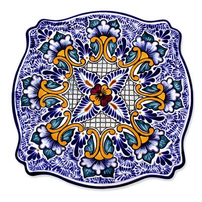 Ceramic serving plate, 'Imperial Blooms' - Talavera Style Ceramic Serving Plate