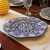 Ceramic serving plate, 'Blue Duchess' - Artisan Crafted Handcrafted Floral Ceramic Platter Serveware