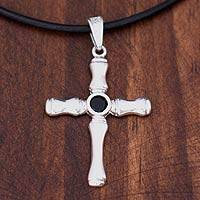 Men's sterling silver cross necklace, 'Skeletal Faith' - Men's Silver Onyx Cross Necklace