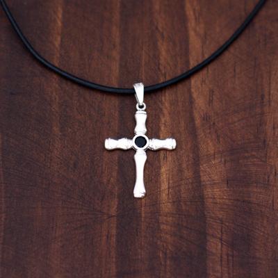 Men's sterling silver cross necklace, 'Skeletal Faith' - Men's Silver Onyx Cross Necklace