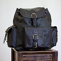 Leather backpack, 'Black Deluxe'