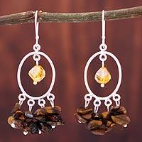 Tiger's eye chandelier earrings, 'Silao Dusk' - Tiger's eye chandelier earrings