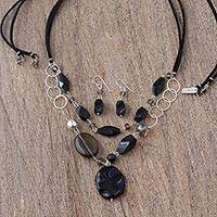 Onyx and agate jewelry set, 'Guanajuato Night' - Women's Silver Onyx and Agate jewellery Set