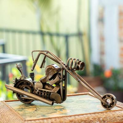 Auto part statuette, 'Rustic Chopper' - Auto Part Motorbike Sculpture Recycled Metal Handmade Mexico