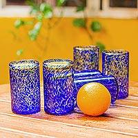 Drinking glasses, 'Marine' (set of 6) - Unique Handblown Glass Water Tumblers Drinkware (Set of 6)