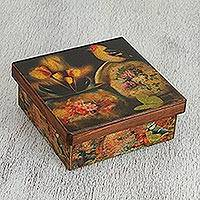 Decoupage tea box, 'Still Life' - Fair Trade Mexican Decoupage Yellow Bird Tea Box