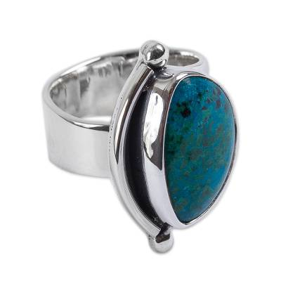 Hand Made Taxco Fine Silver Chrysocolla Cocktail Ring