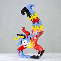 Wood display jigsaw puzzle, 'Funny Jester' - Wood display jigsaw puzzle