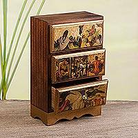 Decoupage jewelry chest, 'Diego Rivera's Mexico' - Unique Decoupage Wood Jewelry Box