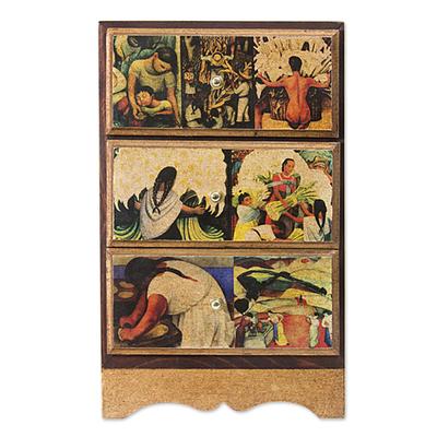 Decoupage jewelry chest, 'Diego Rivera's Mexico' - Unique Decoupage Wood Jewelry Box