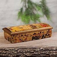 Decoupage jewelry box, 'Afternoon in the Alameda' - Decoupage Jewelry Box with Diego Rivera Art