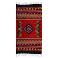 Wool rug, 'Zapotec Passion' (2.5x5)