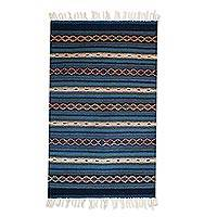 Zapotec wool rug, 'Magical Copalitilla Waterfall' (2x3.5)