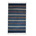 Authentic Zapotec Blue Wool Area Rug (2x3.5), 'Magical Copalitilla Waterfall'