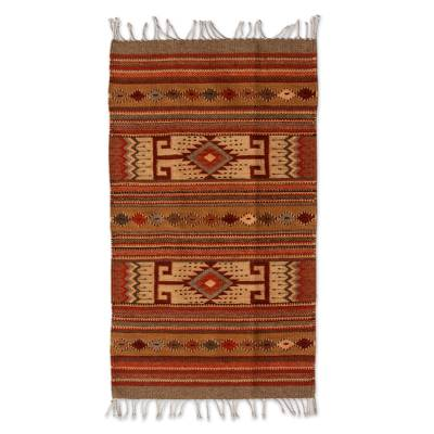 Handcrafted Zapotec Wool Area Rug from Mexico (2x3)